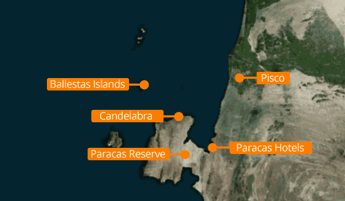 Map of Paracas and the Ballestas Islands