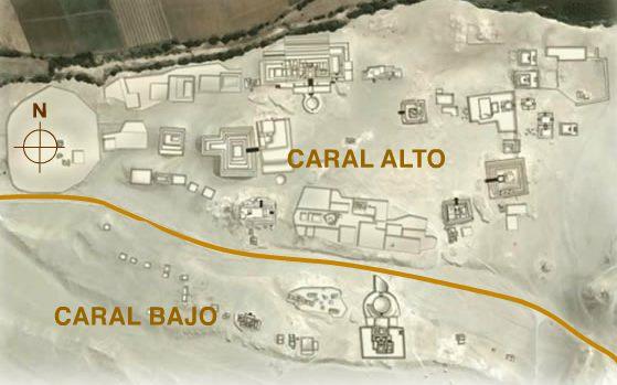Map of Caral, Peru