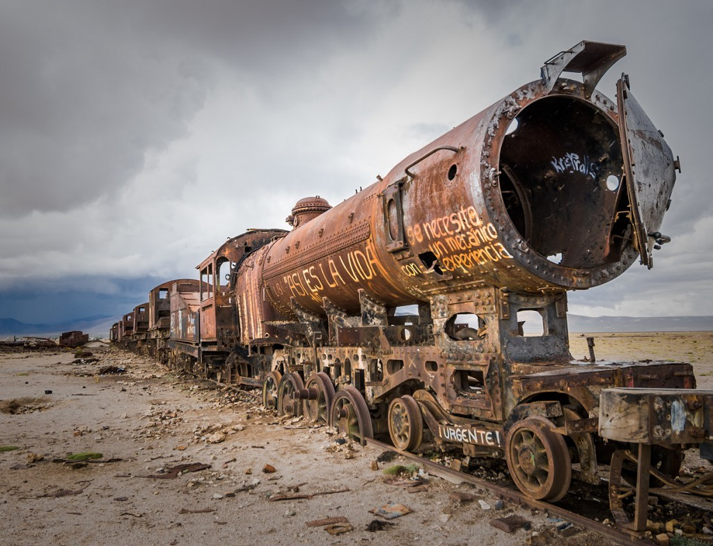 Train cemetery, routes to Uyuni, RealWords
