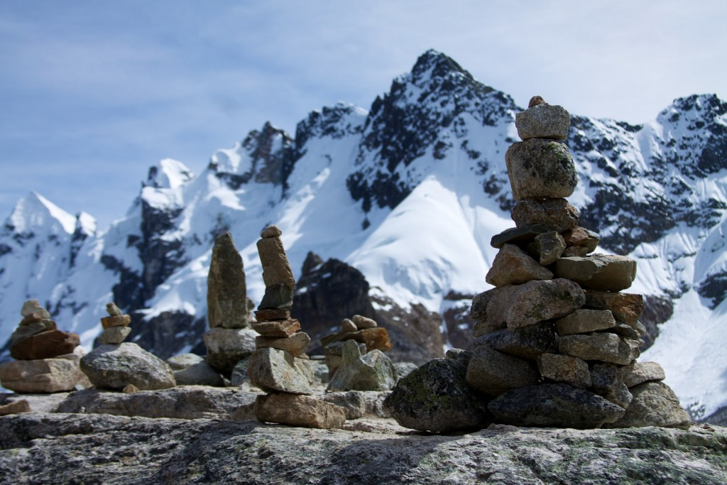 The 4650m pass was dotted with dozens of piled-stone cairns, each passing group adding to the assemblage.