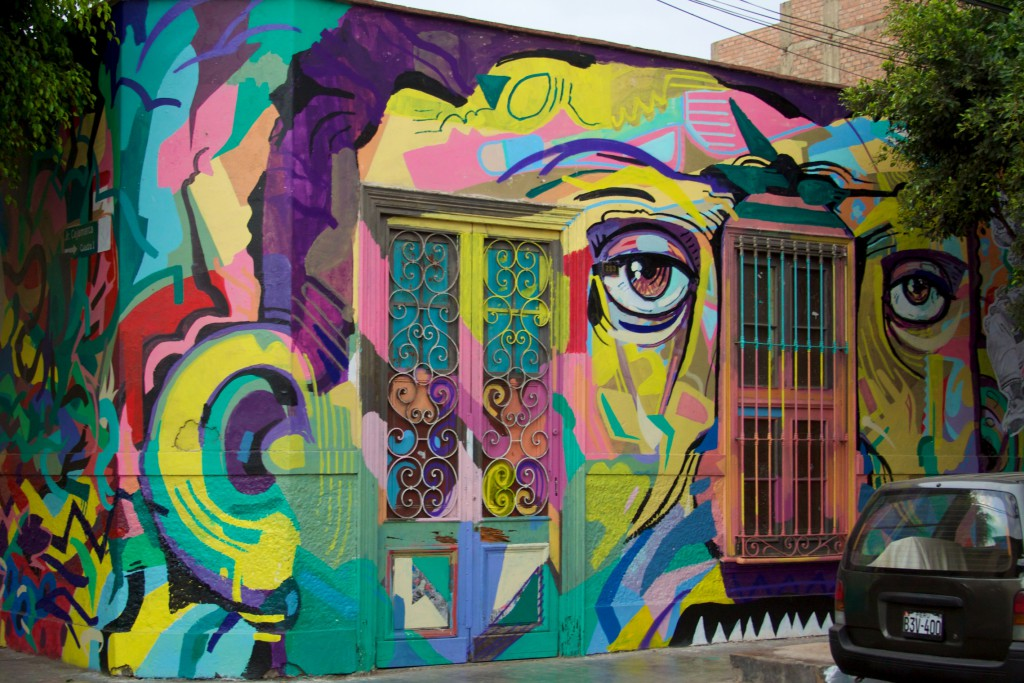 More excellent street art as I wandered the oceanside neighbourhood of Barranco. I love the face.