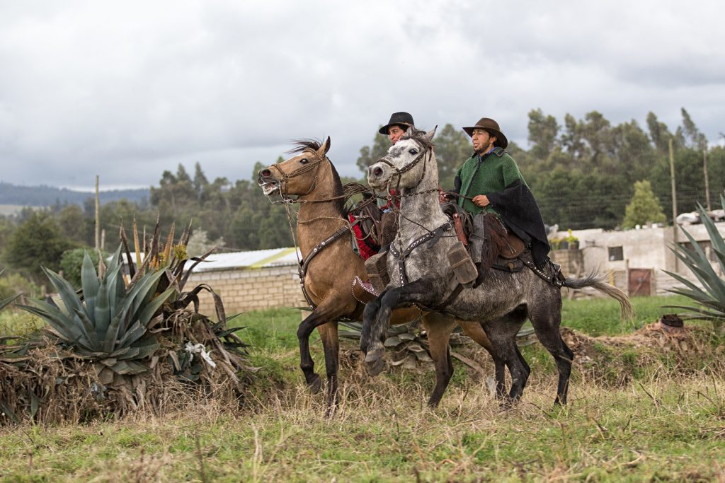 Cowboys wearing traditional poncho riding their horses in the rain