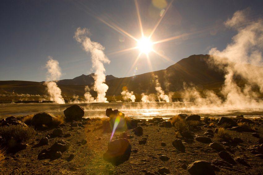 Sunrise behind fumaroles at an altitude of 4300m, El Tatio Geysers, Atacama desert, Antofagasta Region, Chile, South America
