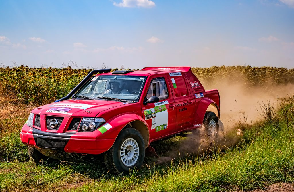 Car participating in the Dakar Rally.