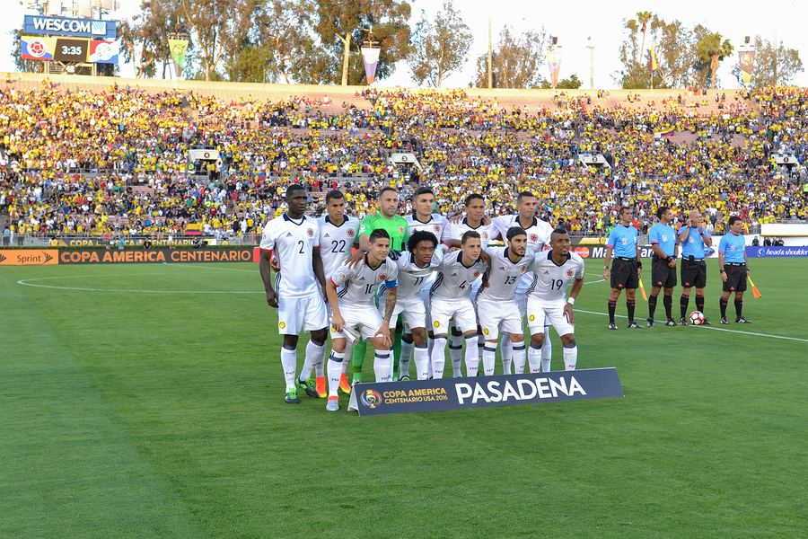 Pasadena USA - June 07 2016: Colombia national team during Copa America Centenario match Colombia vs Paraguay at the Rose Bowl Stadium.