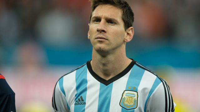 SAO PAULO BRAZIL - July 9 2014: Lionel MESSI during Argentina National Anthem at the 2014 World Cup Semi-finals game between Argentina and Netherlands at Arena Corinthians.