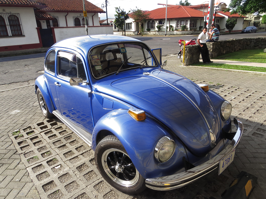 "SAN JOSE, COSTA RICA - November 1: Volkswagen Beetle, the Nazi Germany ""The People's Car"" that after many decades still remains as a design icon. November 1, 2015 in San Jose."
