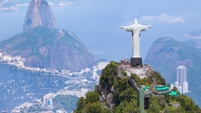 Aerial view of Christ Redeemer and Corcovado Mountain