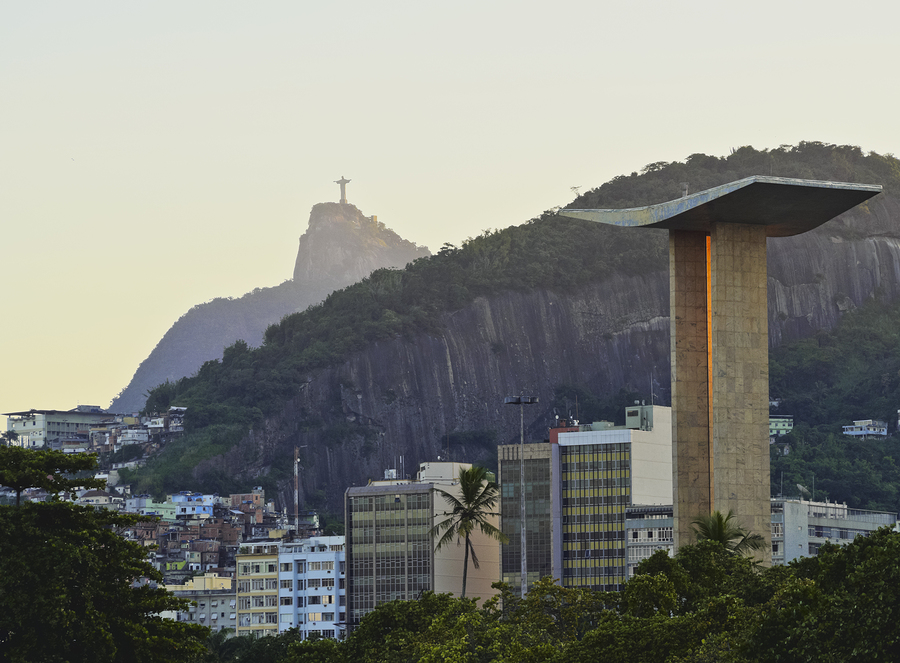 Brazil City of Rio de Janeiro Gloria View of the Monument to the Dead of World War II with Corcovado Mountain and Christ the Redeemer in the background.
