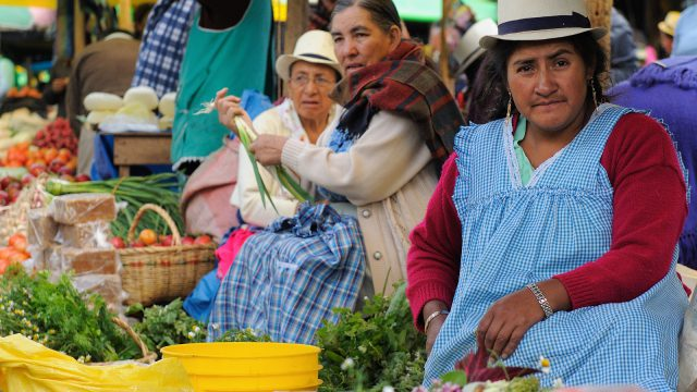 Indigenous Ecuadorian women in national clothes selling agricultural products and other food items on a market in the Gualaceo village