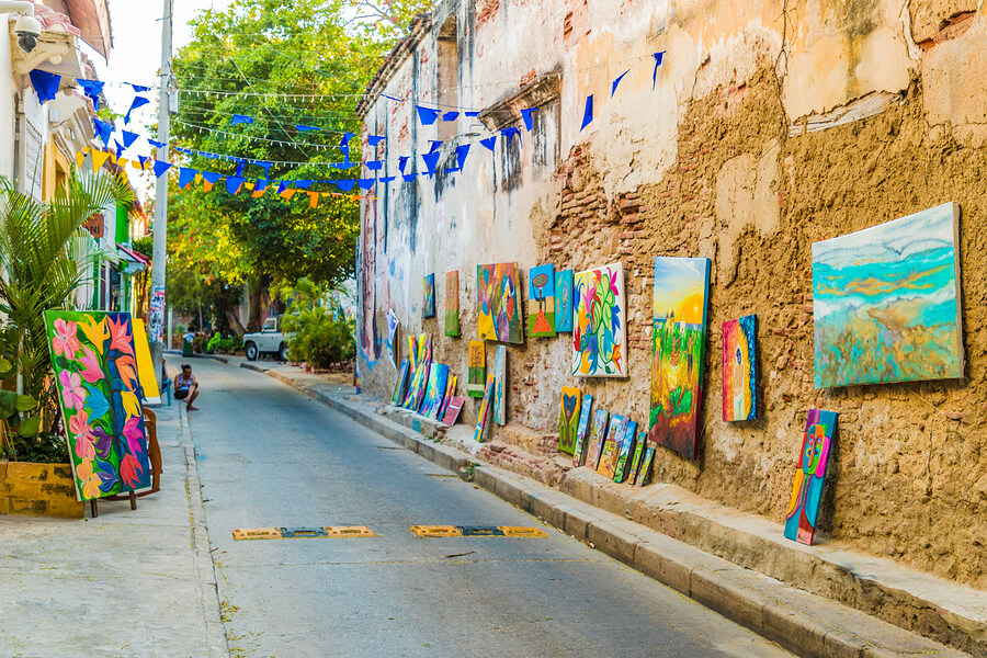 A view of a colorful art gallery in the street in Cartagena in Colombia