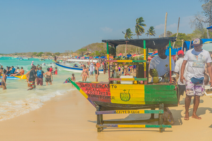 A view of a wooden beach bar on Playa Blanca in Cartagena in Colombia