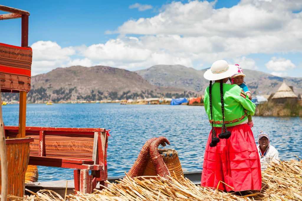 Picture of a local watching over Lake Titicaca