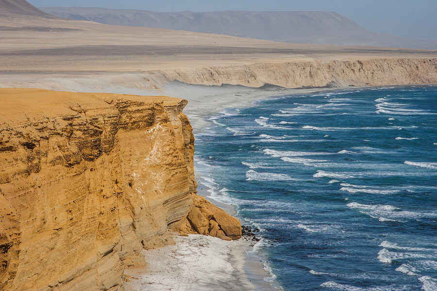 The Pacific Ocean laps over beaches in Paracas.
