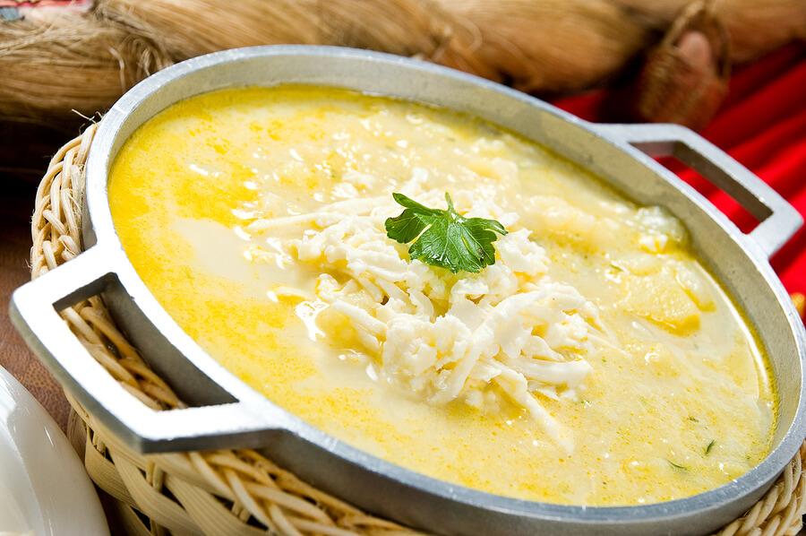A picture of hot Locro de Papa soup
