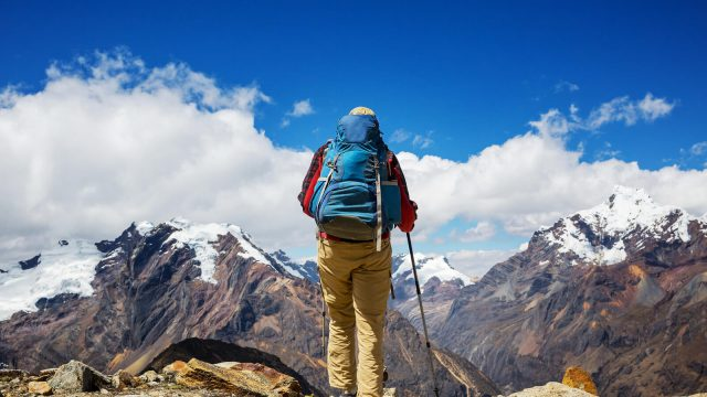 A hiker in the Cordillera Mountains