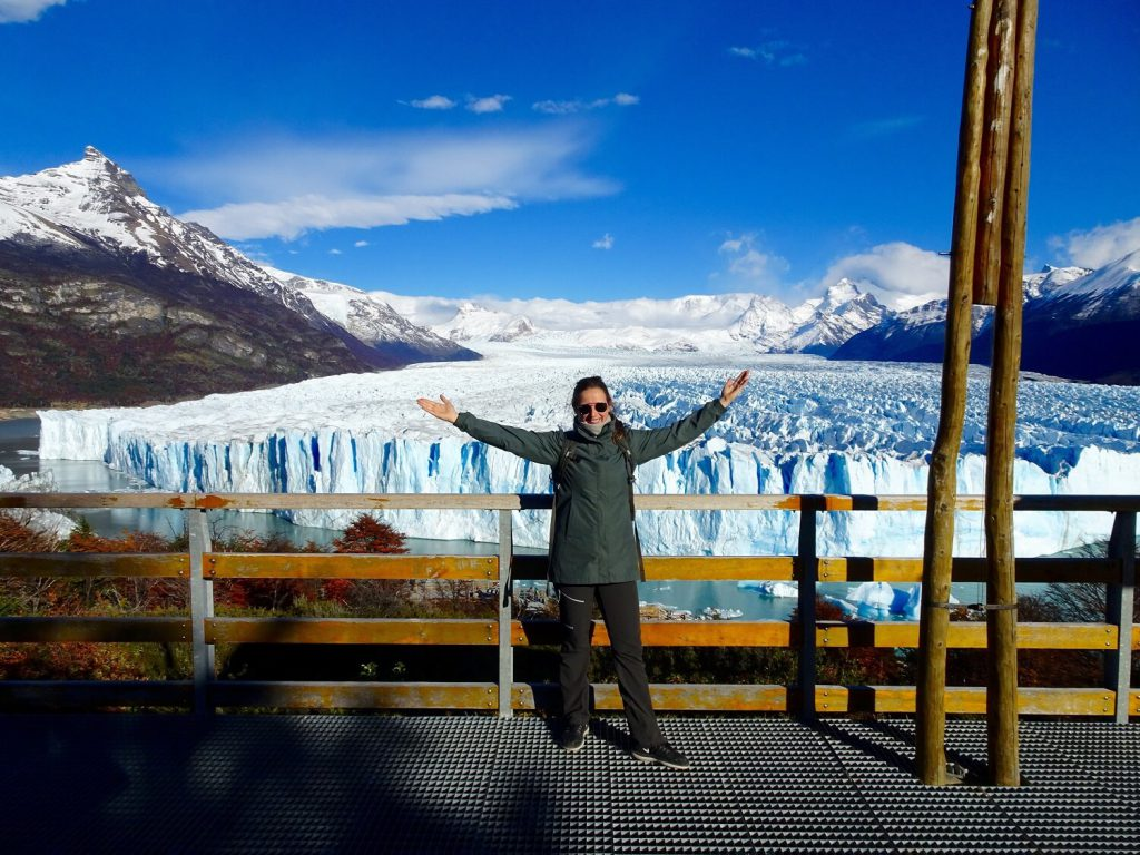 Pauline standing in front of the Perito Moreno Glacier