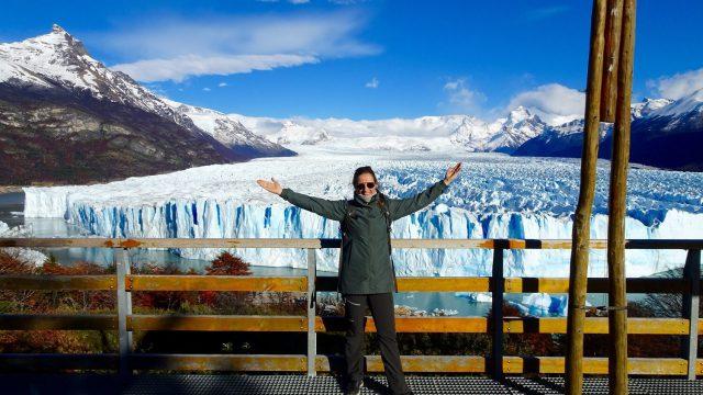 Pauline standing in front of the Perito Moreno Glacier