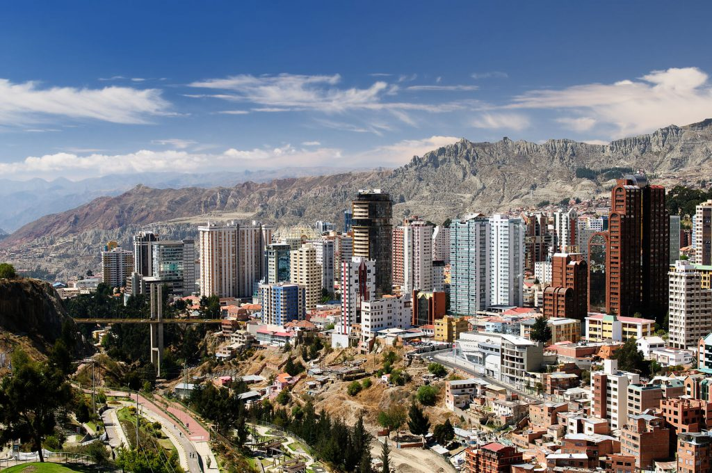 The beautiful city of La Paz in Bolivia