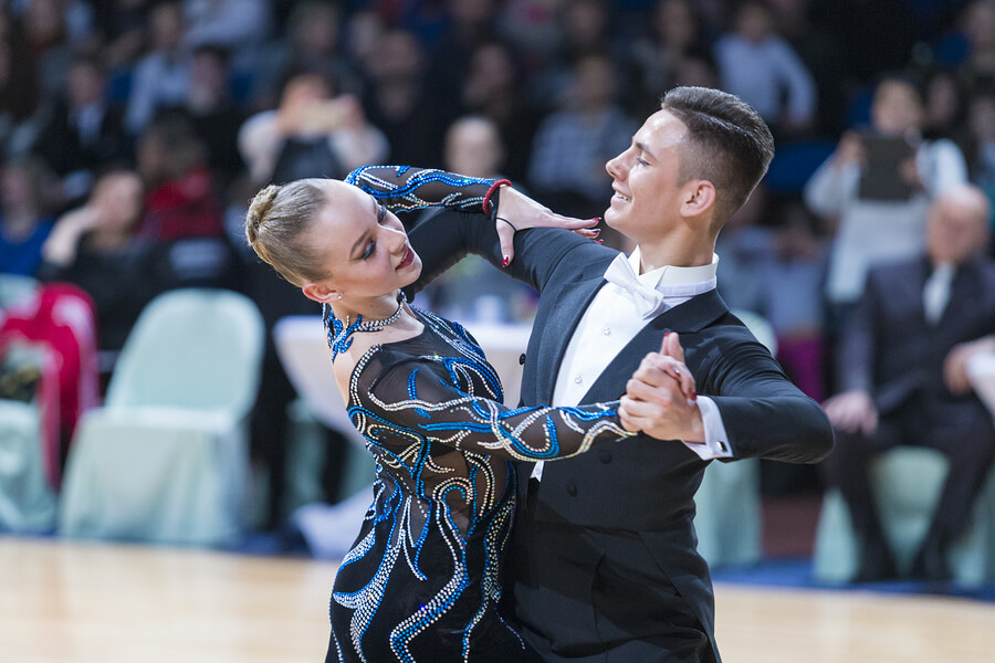 A couple in a professional Tango competition.