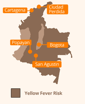 Colombia Yellow Fever map