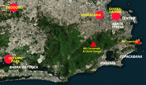 Map of event venues for the 2016 Rio Olympics