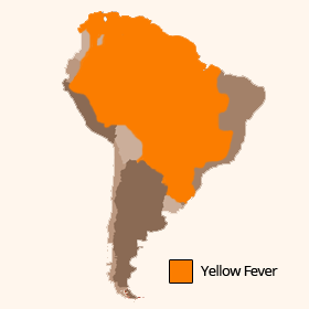 South America Yellow Fever Map